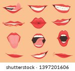 set of female lips with various ... | Shutterstock .eps vector #1397201606