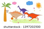 funny dinosaurs playing...   Shutterstock .eps vector #1397202500