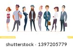 collection of charming young... | Shutterstock .eps vector #1397205779