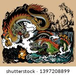 two chinese east asian dragons... | Shutterstock .eps vector #1397208899