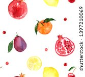 pattern of fruit painted with... | Shutterstock . vector #1397210069