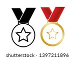 medal with star. vector... | Shutterstock .eps vector #1397211896