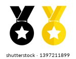 medal with star. vector... | Shutterstock .eps vector #1397211899