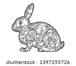 Stock vector mechanical hare rabbit animal sketch engraving vector illustration scratch board style imitation 1397255726