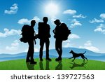 silhouettes of three... | Shutterstock . vector #139727563
