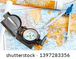 a vintage analogue compass on a ...   Shutterstock . vector #1397283356