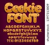 chocolate cookie alphabet font. ... | Shutterstock .eps vector #1397313809
