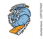 vintage surf print design for t ... | Shutterstock .eps vector #1397327969