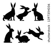 silhouette rabbit set. vector... | Shutterstock .eps vector #1397354036