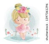 Stock vector cute little ballerina dancing happily 1397361296