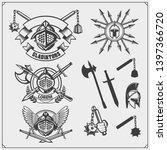set of ancient warrior emblems  ... | Shutterstock .eps vector #1397366720