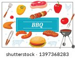 flat bbq party colorful...   Shutterstock .eps vector #1397368283