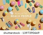 people sunbathing and relaxing... | Shutterstock .eps vector #1397390669