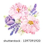 Watercolor Floral Bouquet Of...