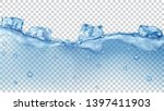 translucent blue ice cubes and... | Shutterstock .eps vector #1397411903