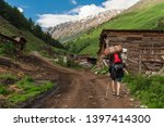 tourist with backpack and... | Shutterstock . vector #1397414300