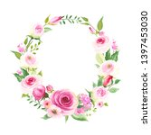 wreath with pink roses  buds...   Shutterstock .eps vector #1397453030