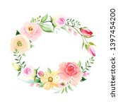 floral wreath with colorful...   Shutterstock .eps vector #1397454200