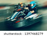 glad woman driving sport car...   Shutterstock . vector #1397468279