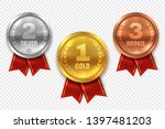 realistic award medals. winner... | Shutterstock . vector #1397481203
