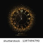 new year shiny gold watch  five ... | Shutterstock .eps vector #1397494790