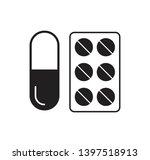 Pill Capsule Icon Vector...