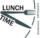 lunch time  meal text with fork ... | Shutterstock .eps vector #1397531873