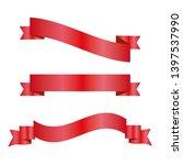 red ribbons set. vector design... | Shutterstock .eps vector #1397537990