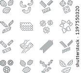 pasta noodles linear icons set. ... | Shutterstock .eps vector #1397550320