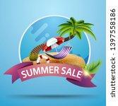 summer sale  round discount... | Shutterstock .eps vector #1397558186