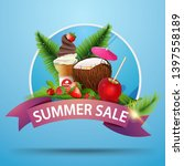 summer sale  round discount... | Shutterstock .eps vector #1397558189