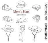 men's hats collection  ....   Shutterstock .eps vector #1397580629