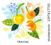 fresh cherries berry berries...   Shutterstock .eps vector #1397617733