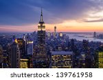 Stock photo new york city with skyscrapers at sunset 139761958