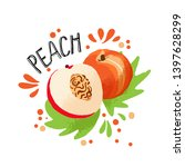 Vector Hand Draw Colored Peach...