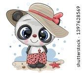 cute cartoon panda on the beach ... | Shutterstock .eps vector #1397628569