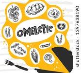 omelette. scrambled eggs. hand... | Shutterstock .eps vector #1397638190