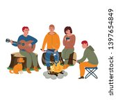 tourists around the campfire.... | Shutterstock .eps vector #1397654849