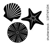 Sea life silhouettes set, starfish, scallop shell, sea urchin.