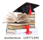 grad hat with diploma and books ... | Shutterstock . vector #139771390