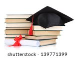 grad hat with diploma and books ... | Shutterstock . vector #139771399