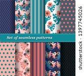 set of trendy seamless floral... | Shutterstock .eps vector #1397745026
