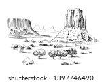 sketch of the desert of america ... | Shutterstock .eps vector #1397746490