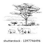 sketch of the african savanna... | Shutterstock .eps vector #1397746496
