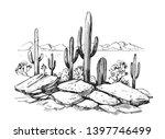 sketch of the desert of america ... | Shutterstock .eps vector #1397746499