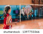 badminton court with players....   Shutterstock . vector #1397753366