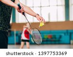 badminton court with players....   Shutterstock . vector #1397753369