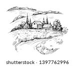 rural landscape with farm. hand ... | Shutterstock .eps vector #1397762996