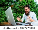 hipster busy with freelance.... | Shutterstock . vector #1397773040