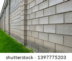 The Wall Of Cinder Block Fence...